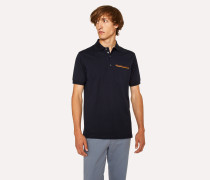 Slim-Fit Dark Navy Cotton-Piqué Polo Shirt With 'Artist Stripe' Pocket