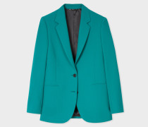 Turquoise Two-Button Wool-Blend Blazer