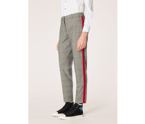Classic-Fit Black And White Check Wool-Blend Trousers With Red Stripe Detail