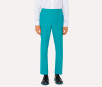 Slim-Fit Turquoise Hopsack Wool Trousers