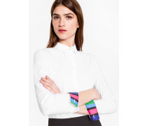 White Stretch-Cotton Shirt With 'Cycle Stripe' Cuff Linings