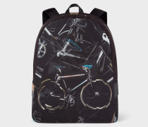 'Paul's Bike' Print Canvas Backpack