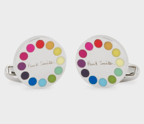 Gradient Polka Dot-Edge Circular Cufflinks