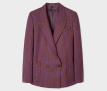 Maroon Check Double-Breasted Wool-Blend Blazer