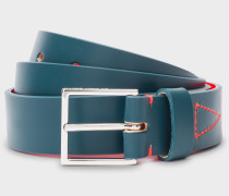 Petrol Blue Leather Belt With Contrast Stitching