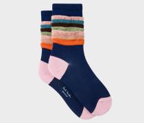 Navy Multi-Coloured Frill Socks
