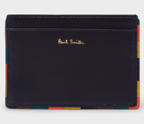 Navy 'Bright Stripe' Border Leather Card Holder