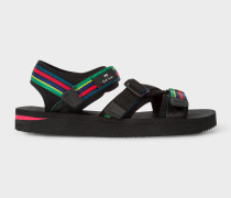 Black 'Formosa' 'Cycle Stripe' Webbing Sandals