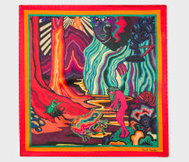 Multi-Coloured 'Dreamer' Print Silk Pocket Square