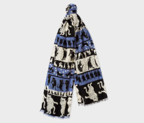 'Dancing Cats' Pattern Wool Scarf