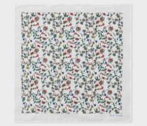 White 'Explorer Floral' Print Cotton Pocket Square
