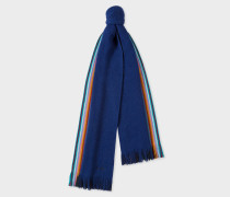 Double-Face Blue Striped-Edge Wool Scarf