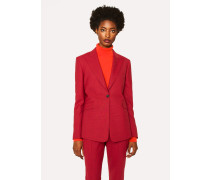Slim-Fit Red Houndstooth One-Button Wool Blazer