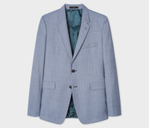 Slim-Fit Blue Houndstooth Motif Wool Blazer