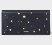 Navy 'Gold Star' Leather Tri-Fold Purse