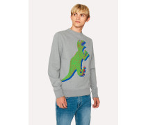 Grey Marl Organic-Cotton Large Dino Sweatshirt