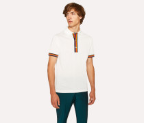 Slim-Fit White Cotton-Piqué Polo Shirt With 'Artist Stripe' Details