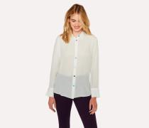Cream Silk Shirt With Multi-Coloured Button Placket