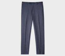 Slim-Fit Navy Check Wool Trousers