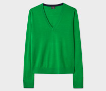 Green Wool V-Neck Sweater