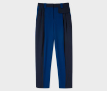 Navy And Cobalt Blue Wool Trousers