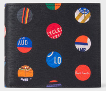 'Cycle Dot' Print Leather Billfold Wallet