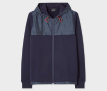 Navy Zip-Front Hoodie With Contrast Trims