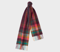 Damson 'Artist Stripe' Check Lambswool Scarf