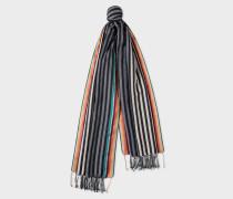 Black And Grey Stripe Cotton-Silk Scarf
