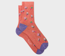 Coral 'Daisy' Glitter Socks
