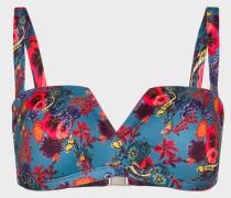 Blue 'Ocean' Print Bandeau Bikini Top