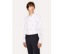 Slim-Fit White Embroidered 'Dog' Cotton Shirt