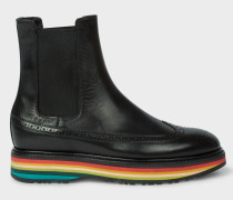 Black Leather 'Grand' Boots With Striped Soles