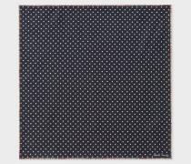 Black Polka Dot Silk Pocket Square 'Signature Stripe' Border