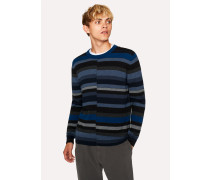 Navy Wool Sweater With Multi-Coloured Stripes