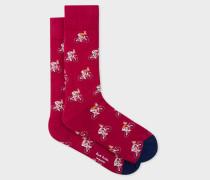 Red 'Cycling Rabbits' Socks