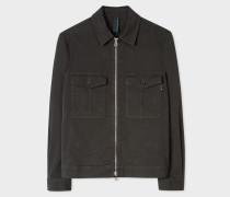 Dark Green Cotton Patch-Pocket Jacket