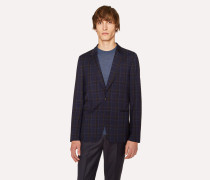 Tailored-Fit Navy And Black Check Unlined Wool-Blend Blazer