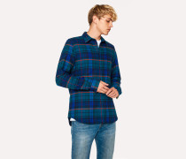 Tailored-Fit Navy And Petrol Blue Check Cotton Shirt