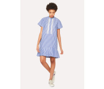 Blue And White Stripe Band-Collar Cotton Dress