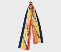 Yellow 'Mackerel' Print Tubular Silk-Blend Scarf