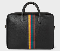 Black 'Bright Stripe' Leather Business Folio