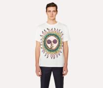 Slim-Fit White 'Sun' Print T-Shirt