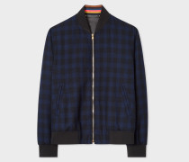 Dark Navy Check Wool Bomber Jacket