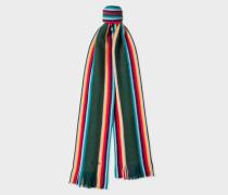 Dark Green 'Artist Stripe' Band Merino Wool Scarf