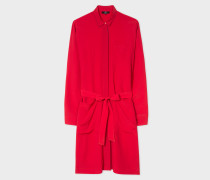 Red Silk-Blend Shirt Dress With Contrasting Trims