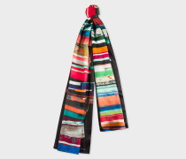 Black 'Books' Print Silk Scarf