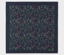 Navy 'Explorer Floral' Print Cotton Pocket Square
