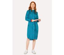 Turquoise 'Daisy Polka' Print Silk Shirt Dress