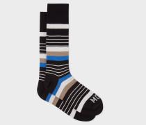 R.E.M. + - Black Stripe 'Moon Kitten' Socks